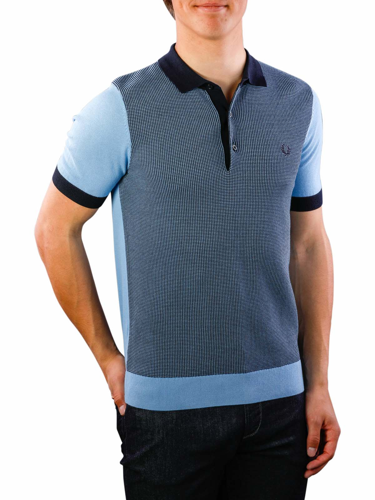 Repliken begrenzter Preis 60% Freigabe Fred Perry Two Colour Knitted Shirt sky