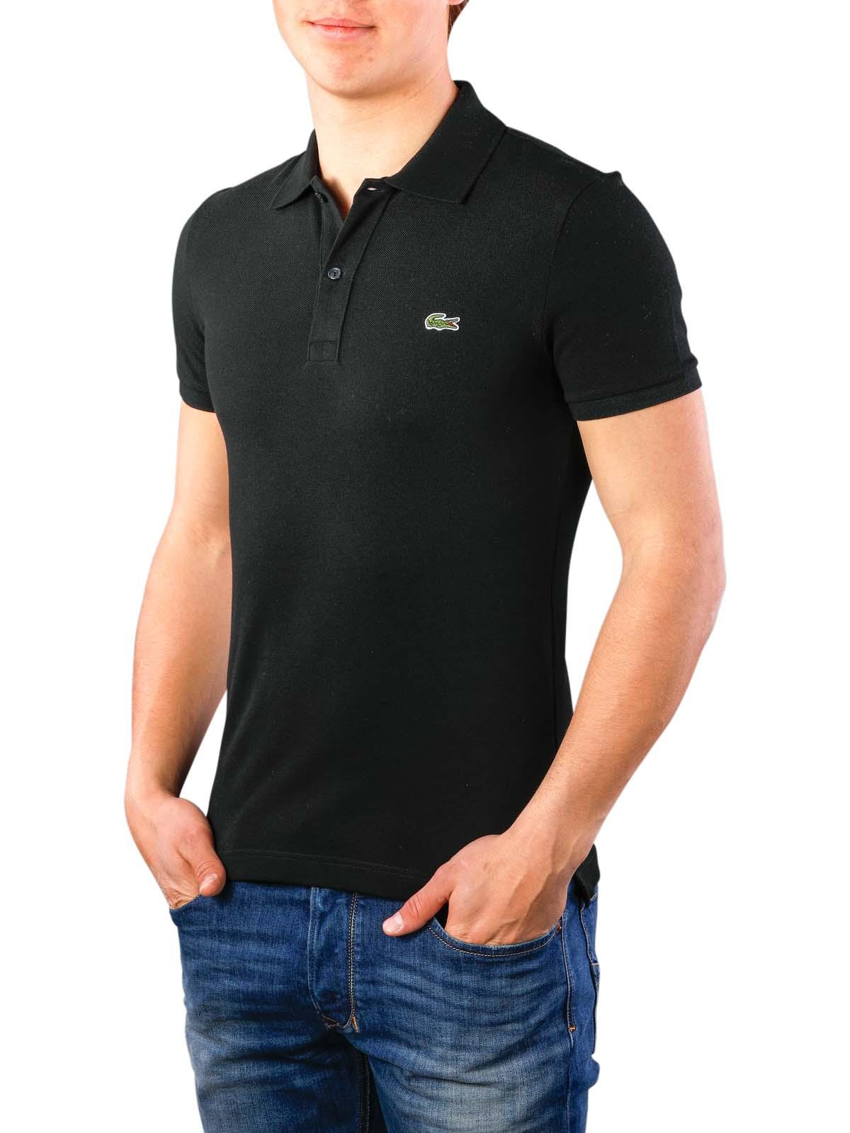 best service c5a4f 42123 Lacoste Polo Shirt Slim Short Sleeves noir